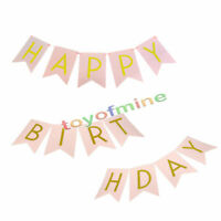 Pastel Pink Happy Birthday Bunting Garland Gold Letters Party Hanging Banner