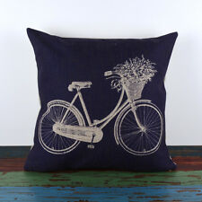 45*45cm Blue Linen Vintage French Provincial Cushion Cover Bicycle Script