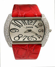 Chico's Women's Large Off-Center Silver-Tone & Austrian Crystal Watch CH-881