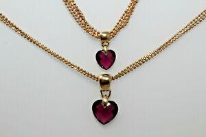 Vintage BALLOU 14K Gold Ball Chain & Amethyst Heart Necklace Bracelet Set 14.6g