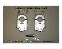 "Handlebar Riser Bar Backs for BMW R1200GS 13+ R12GSA 14+ 2"" move W/brake adapt"