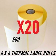 "20 x ROLLS Zebra GK420D 100mm x 150mm 6 x 4"" WHITE Direct Thermal Labels x500 UK"