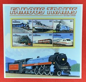 ZAYIX - 2002 Gambia 2529 MNH - Railroads - Famous Trains of the World SS