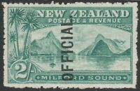 NEW ZEALAND 1907/11 SG O66 2s BLUE GREEN MILFORD SOUND OFFICIAL MINT HINGED