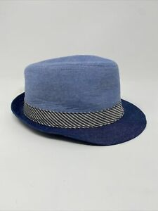 Baby Cat & Jack Blue Chambray Fedora Hat Brim Stripe Size 0-6 Months Flaws