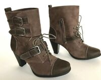 Madden Girl Funky Cynder Boots Buckles Lace Up Zip Brown Women's 6.5 minimal use