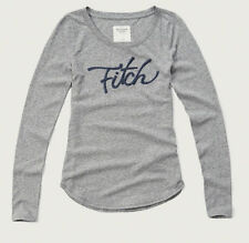 NWT Abercrombie & Fitch Women Long Sleeve Logo Graphic T Shirt Top L Light Grey