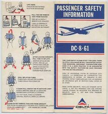 DELTA Air Lines DC-8-61 1978 safety card e013