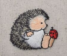 Hedgehog - Sitting/Ladybug on his Toe/Animals Iron on Applique/Embroidered Patch
