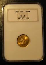 Finland 1926 Gold 100 Markkaa NGC MS-65