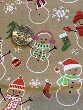 Christmas Trees Stockings Snowmen Cotton Fabric 1 Yd