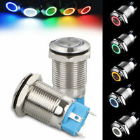 Metal 12V Car ON/OFF Switch Latch 12mm LED Power Push Button 5 Colors Aluminum