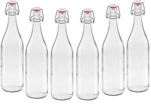 6 Glasflaschen mit Bügelverschluss 1l Bügelflaschen Bügel Flasche TYP A 1000ml