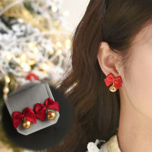 Christmas Lovely Red Bow Bell Earring Stud Drop Dangle Women Jewelry Xmas Gifts