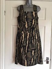 Kaleidoscope 14 bLack & Gold stretch draped sleeveless quality tea dress
