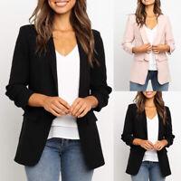 Trendy Women's Casual Work Office Blazer Open Front Long Sleeve Cardigan Jacket