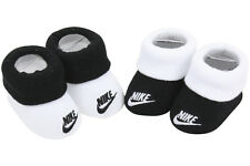 Nike Infant Boy's 2-Pair Futura Contrast Cuff Black Booties Set Sz: 0-6 M
