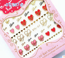 Pink Red Hearts Loves with Gold Stroke Writing 3D Nail Art Stickers Decals UV