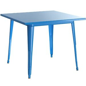 """24"""" Square Blue Metal Garden Patio Restaurant Dining Table For Outdoor Use"""