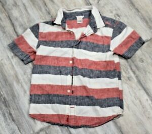 Gymboree Boys Short Sleeve Button Up Shirt Red/White/Gray Stripes Size M (7-8)