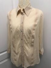 Vintage Escada Sport Womens Long Sleeve Button Down Front Shirt Beige Medium