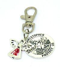 St Christopher & Guardian Angel JULY Birthstone keyring, bag charm Gift