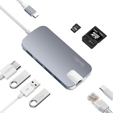 QACQOC USB-C Type C Hub Power Delivery 3 SuperSpeed USB 3.0 Ports 4K HDMI Grey