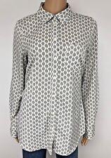 Merona Women's Shirt Medium Gray White Hot Air Balloon Novelty Print Button Down