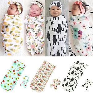 Newborn Infant Baby Swaddle Blanket Soft Sleeping Swaddle Muslin Wrap Headband j