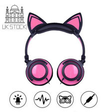 Cat Ear Flashing Glowing Headset Earphone Bluetooth Headphones Girls Kids Gaming