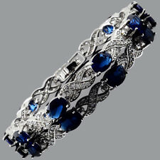 Tennis Bracelet 18K White Gold Plated Oval Cubic Zirconia Blue Sapphire