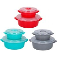 Set of 2 Plastic Microwave Cooking Freezer Pot Bowl Container with Vented Lid