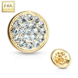 14K Solid GOLD Jeweled Flat Dome Dermal Anchor Top Screw Ring Studs Piercing