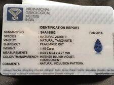 1.45 Ct Natural IGI certified stunning INTENSE Bluish Violet pear Cut Tanzanite.