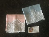 Pair of genuine Brussels, Belgium linen, lace tea towels..Lace Mary Dusaer card
