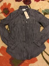 Levi's Women's Tailored Fit Button Front Gray Shirt Size XS NWT  $54.50 Demin
