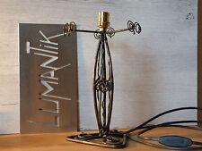 RARE 1 ancien grand pied de lampe en fer forgé filaire - Lampe ART DECO