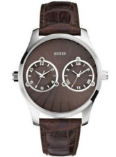 GUESS DUAL TIME BROWN LEATHER CROC TEXTURE MEN'S WATCH-U95027G2