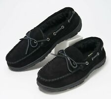 NEW Clarks Suede Men's Faux Fur Lined Moccasin Slipper Size 10 Black