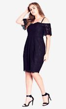 CITY CHIC Size M 18 Off The Shoulder Black Lace Amour Dress