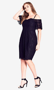 CITY CHIC Size M 18 Off The Shoulder Black Lace Amour Dress