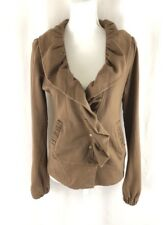 Mike & Chris Womens Jacket Ruffle Snap Button Fleece Lined Brown Size M
