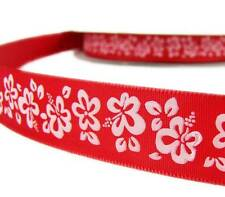 "5 Yards Red White Hibiscus Flower Tropical Ribbon 7/8""W"