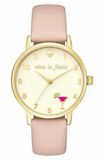 Kate Spade New York Women's Viva La Fiesta Pink Leather Watch #KSW1310 -NWT