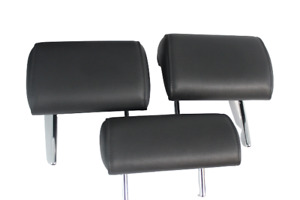 06-08 Audi B7 A4 Rear Seat Head Rest Side Set 3 Black Low Profile