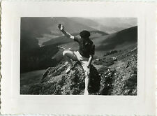 PHOTO ANCIENNE - VINTAGE SNAPSHOT - HOMME MONTAGNE COL D'ASPIN - MOUNTAIN 1947