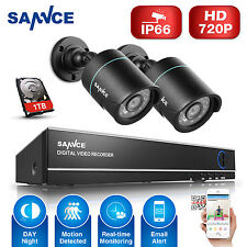 SANNCE 4CH 720P CCTV P2P DVR 1500TVL In/ Outdoor Security Camera System 1TB HDD