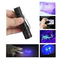 Adjustable LED Zoomable UV Flashlight Purple Light Torch Hunting Lamp AA/14500