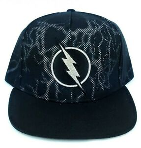 Flash Lightning Black Logo Zoom Adjustable Snapback Hat Cap DC Comics New w/Tags