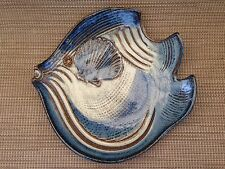 Blue & Brown Fish Shell Handcrafted Curved Bowl Platter Pottery Handmade
